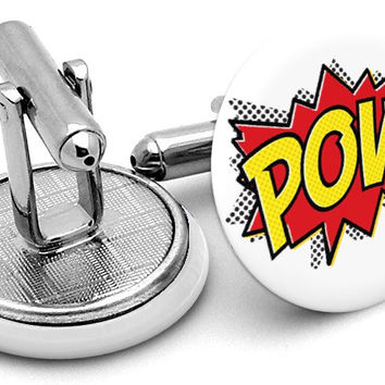 POW Comic Book Cufflinks
