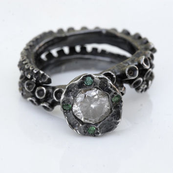 Beautiful Octopus tentacle Engagement ring with a Diamond and emeralds open shank design by Zulasurfing