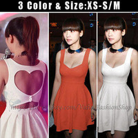 Womens Low Cut Out Heart Open Back Cocktail Evening Pleated Party Mini Dress