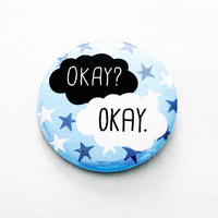 Fault In Our Stars Book Pinback Buttons TFIOS Geeky Accessories Reading Pins Blue Stars Okay