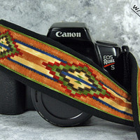 Southwestern dSLR Camera Strap, Pocket, Tribal, Western,  SLR, Custom Camera Strap, 183 pw