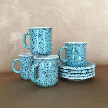 Espresso Set, 4 Cups and Saucers, Demitasse Set, Vintage Ceramics, Turquoise Pottery, Speckled Ceramics, After Dinner Drinks, Retro Espresso