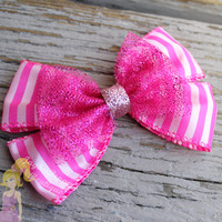 Cheshire Cat hair bow disney inspired hair clip Alice in Wonderland bow