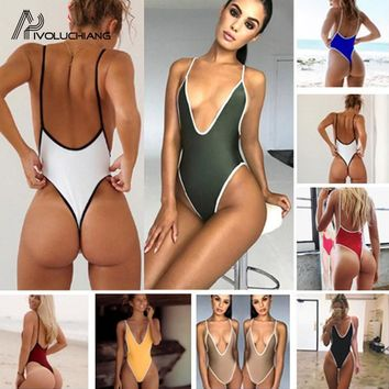 Sexy Women Swimsuit Thong Bathing Suit Black G String Backless one Piece Swimwear Maillot Femme Monokini Swimwear 2018 Bodysuit
