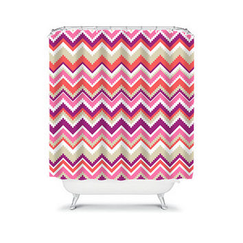 Shower Curtain Aztec Tribal Chevron Colorful Pink Purple Geometric Pattern Bathroom Bath Polyester Made in the USA