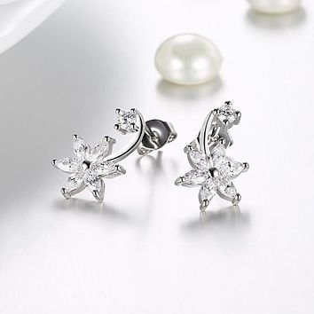 Swarovski Crystal Star Shaped Crawler Earrings Set in 18K White 76a05068a