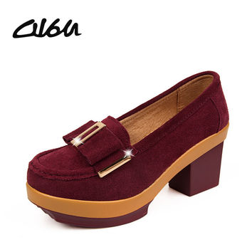 O16U Women pumps platform shoes suede Leather Metal buckle Bow tie High square Heels Ladies wedge Wine red Blue Green PF 014