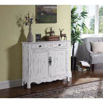Distressed Wooden Accent Cabinet,  White By Coaster