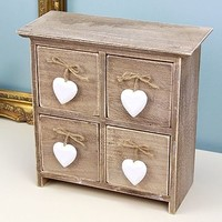 Set Of Drawers With Hanging Hearts