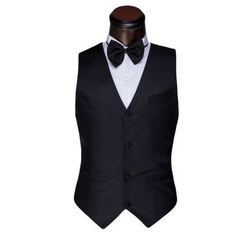 Classical Men Vest  Spring Autumn Mens Fashion Black White Suit Vest Brand Slim Prom Wedding Waistcoat Men Plus Size