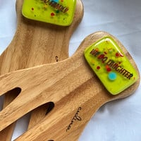 Family Bamboo and Glass Salad Tongs