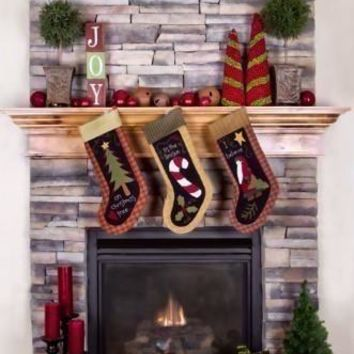 Fireplace Stockings Christmas Backdrop - 5x6 - LCPC7690 - LAST CALL