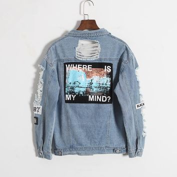 Womens Patched Denim Jacket