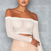 'Devoted' White Striped Mesh Off Shoulder Top - Mistress Rocks