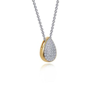 Lafonn Yellow Gold Plated Pear Shaped Cluster Solitaire Simulated Diamond Necklace