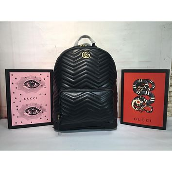 GUCCI LEATHER GG MARMONT BACKPACK BAG