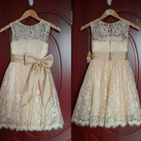 Lace Champagne Flower Girl Dress Little Baby Girl Dress 2T 3T 4T 5T 6T