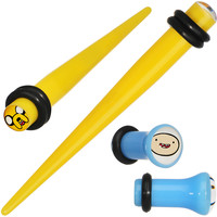 4 Gauge Acrylic Licensed Adventure Time Plug and Taper Set   Body Candy Body Jewelry