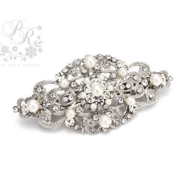 Wedding Barrette Hair Clip Swarovski Pearl Rhinestone Hair Clip Bridal Barrette hair accessory Wedding Jewelry Wedding Accessory ribbon