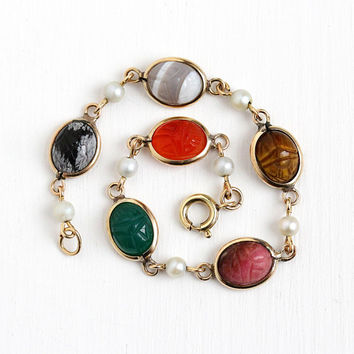 Vintage Scarab Bracelet - Retro Egyptian Revival 12k Rosy Yellow Gold Filled & Cultured Pearl - Agate Snowflake Obsedian Beetle Bug Jewelry