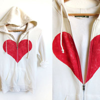 Un-break my Heart Hand STENCILED Zip Hoodie Heather Artist Series Sweatshirt in Cream - S M L XL 2XL 3XL