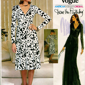 70s VOGUE WRAP DRESS Pattern Sexy Maxi Dress Diane von Furstenberg American Designer Vogue 1548 Bust 34 UNCuT Vintage Womens Sewing Patterns