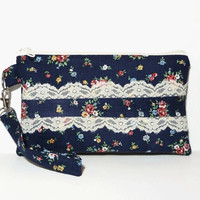 Wrsitlet Clutch Purse, Eco Friendly Boho Chic Bag, Upcycled Navy Blue Fabric, Red Yellow Flowers, Cream Lace, Shabby Chic Bag, Spring Bag