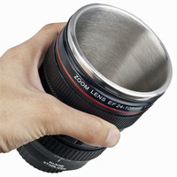 Temperature Retaining Inside Stainless Steel Camera Lens Coffee Mug
