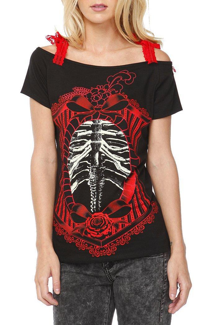 Too Fast Annabel Corset Rib Cage Girls T-Shirt - 708309