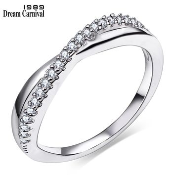 DreamCarnival 1989 Fine Wedding Classic Engagement Jewelry Cubic Zirconia Stone Free Shipping Women Thin Band Midi Ring WA11067