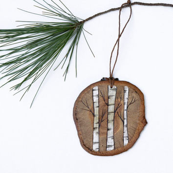 Rustic Wood Burned Birch Trees  Christmas Ornament. Natural aspen tree design on oak
