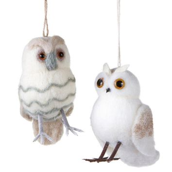 """Urban Nature Striped Cream Puff Owl with Champagne Glitter Beads Christmas Ornaments 5.5"""""""