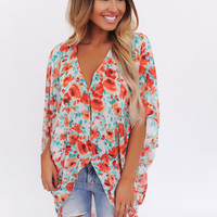 ORANGE/MINT FLORAL HIGH LOW BLOUSE