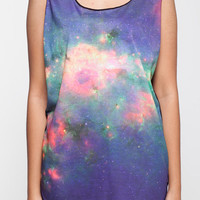 Galaxy Shirt Cosmic Pink and Blue Universe Nebula Tank Top Women Shirts Black Shirt Tunic Top Vest Sleeveless Women T-Shirt Size S M
