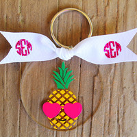 Pineapple Glitter Monogram Key Chain Personalized Custom Keychain Sorority Birthday Bride Wedding Shower Bachelorette Bridesmaid Key Chain