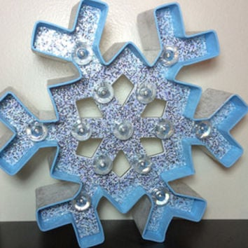 "8"" Custom Made Snowflake Winter Marquee Light - Winter Decor Light Up Marquee Nursery Decor Home Decor Wedding Centerpieces Cake Topper"