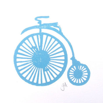 PRINT - Antique bike (penny farthing) LIGHT BLUE bike linocut 8x10