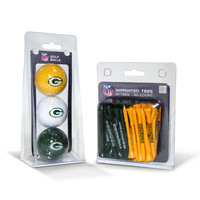 Green Bay Packers NFL 3 Ball Pack and 50 Tee Pack