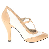 Nude & White Perforated Hannon T-Strap Mary Jane Heels