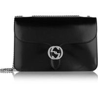 Gucci - Linea B medium glossed-leather shoulder bag
