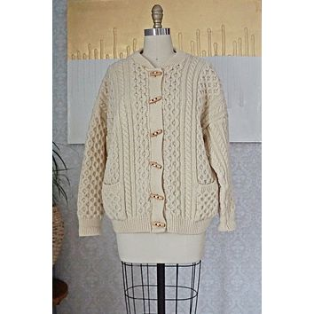 Vintage Cableknit  Toggle Fisherman Sweater