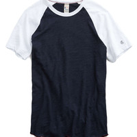 Short Sleeve Colorblocked Raglan Tee in Navy