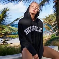 Women Loose Thickened Embroidery Letter Split Long Sleeve Hooded Pullover Sweater Sweatshirt Tops