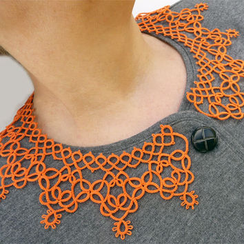 Orange Collar - lace collar - collar tatting - feminine accessories - elegant collar - vintage style