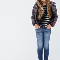 FOREVER 21 GIRLS Shiny Rose Print Puffer Jacket (Kids) Black/Red
