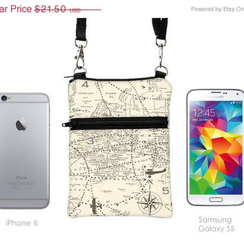 Samsung Galaxy S5 Crossbody, iPhone 6 5 Zipper Sling Bag, Smartphone Purse, Cell Phone Purse, Small Cross Body Bag  - travel world map