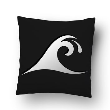 Black Epic Wave Surf Pillow Case from Surfer Bedding