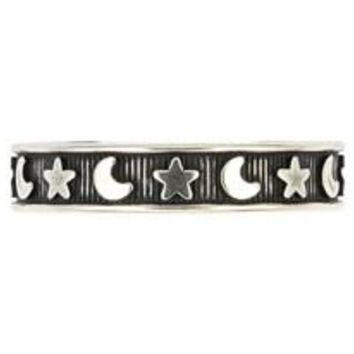 Sterling Silver Moon And Star Adjustable Toe Ring 4MM (Made in USA)