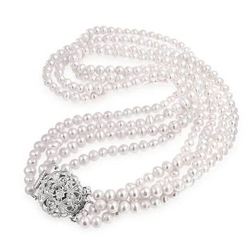 Vintage Style Freshwater Pearl Multi Strand Necklace Floral CZ Clasp