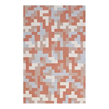 Andela Interlocking Block Mosaic 8x10 Area Rug, Multicolored Coral and Light Blue -Modway